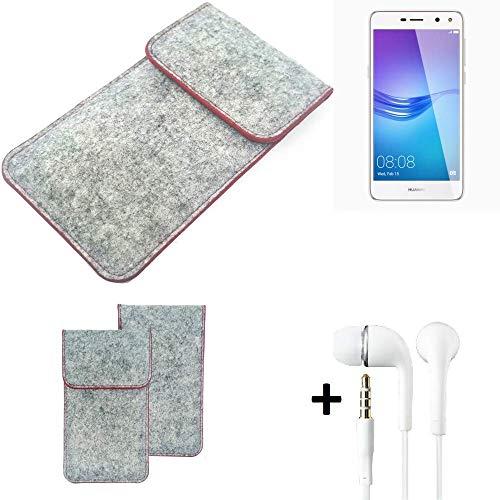 K-S-Trade® Handy Schutz Hülle Für Huawei Y6 (2017) Single SIM Schutzhülle Handyhülle Filztasche Pouch Tasche Hülle Sleeve Filzhülle Hellgrau Roter Rand + Kopfhörer