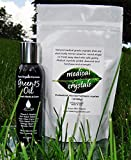 Best Stretch Mark STARTER KIT microdermabrasion Medical Crystals + Green15 Oil for stretch marks shown to prevent and remove old stretch marks, microdermabrasion crystals exfoliate dead scars and stretch marks, stretch mark oil nourishes and repairs overstretched skin, dead skin exfoliant, professional grade body scrub