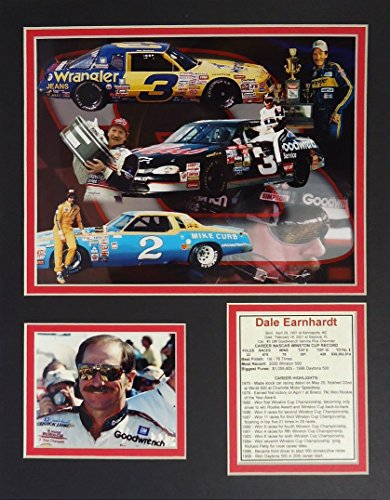 Dale Earnhardt Sr NASCAR Auto Racing Double Matted 8x10 Photograph Daytona 500 Trophy