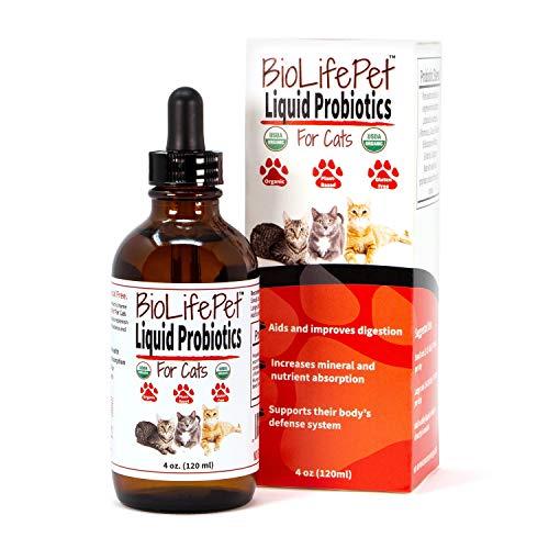 LiviaOne BioLifePet Liquid Probiotics for Cats, Organic Cat Probiotic Supplements, Kitten and Cat Health Supplies, 4 Fl Oz (Pack of 1)
