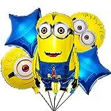 Minions Globos de papel de aluminio simyron 5 pcs Minions Party's Helium Balloons Decoraciones Cumpleaños de Fiesta para Niños Happy Birthday Party Supplies