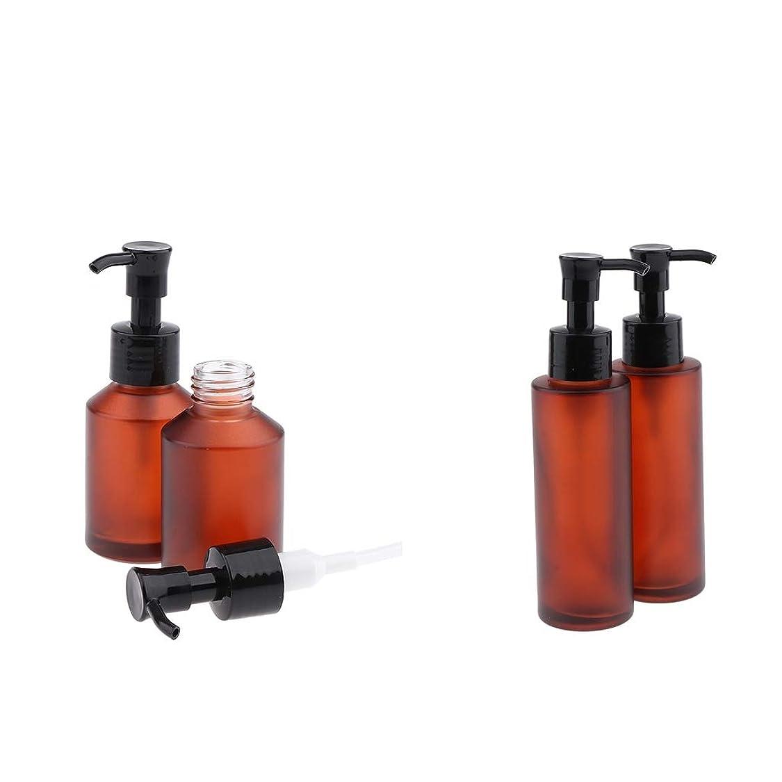 P Prettyia 4個 空 ガラス ポンプボトル 詰め替え式 化粧品ボトル ローションボトル 100/60ミリリットル
