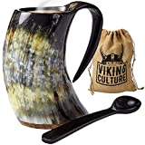 Viking Culture - Hot Viking Horn Mug with Spoon and Bag, 2 Pc Set, Horned Handle with Rustic Natural Finish, Safely Holds Hot and Cold Tea, Coffee, Cocoa, Wine, Beer or Mead