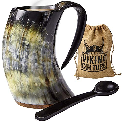 Viking Culture - Hot Viking Horn Mug with Spoon and Bag, 2 Pc Set, Horned Handle with Rustic Natural...