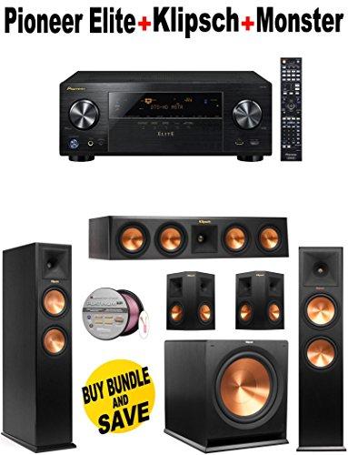 Pioneer Elite-VSX80 + 2 Klipsch-RP260FBK + Klipsch-RP440CBK + 2 Klipsch-RP250SBK + Klipsch-R110SW + Monster Cable-PLATXPMS50 Bundle
