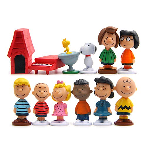 MINLIN 12pcs/Pack Cut Anime Peanuts Figurine Charlie Brown and Friends Beagle Woodstock Miniature Model Kids Toy Gift Animation Action