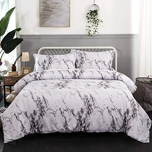 Marble Duvet Cover King 3 Pieces White Grey Marble Printed Bedding Quilt Cover with Zipper & Corner Ties for Girls Adults Soft Microfiber Bedding 220x230 cm