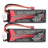 GOLDBAT 2S RC Battery 50C 5200mah 7.4v Lipo RC Battery Estuche rígido con Enchufe T para Coches RC Vehículos a Escala 1/8 y 1/10 Coche, Camiones, Barcos RC Evader Bx RC Truggy (2 Paquetes)