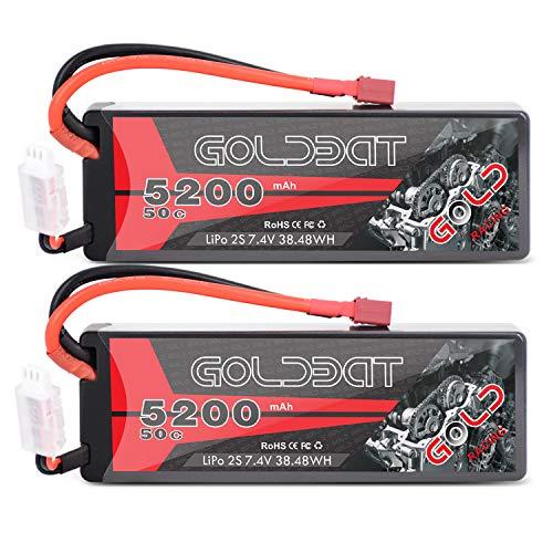 GOLDBAT 2S RC Battery 50C 5200mah 7.4v Lipo Rc Battery hardcase With T plug...