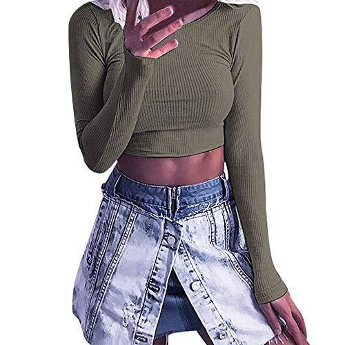 Blouse for Women Long Sleeve Kimloog Fashion Women Long Sleeve O-neck Tight Elastic T-shirt Blouses Crop Tops