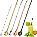 4 Pieces Spoon Straws Stainless Steel Drinking Spoon Straws Reusable Metal Cocktail Spoons Straws with Long Cleaning Brush