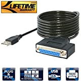 Sabrent Cavo Adattatore per Stampante da USB 2.0 a Porta Parallela DB25 IEEE 1284 [Connettori con Viti di Serraggio] (CB-1284)