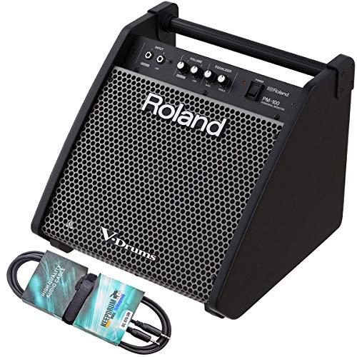 Roland PM-100 - Caja de monitor de batería electrónica (incluye minijack estéreo keepdrum GC075, 3 m)