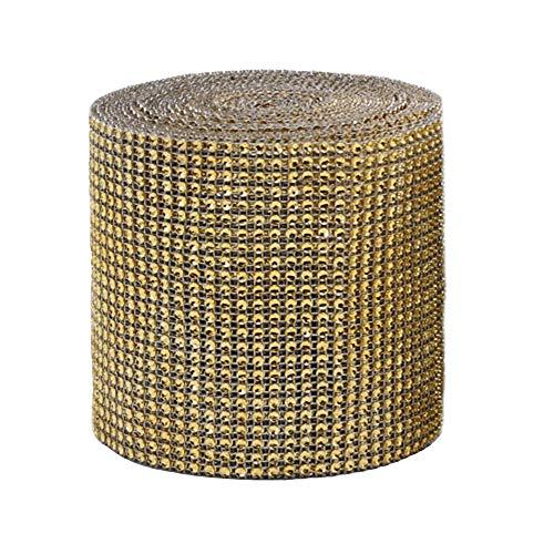 24 Reihen 9 M/Rolle Strassband Acrylic Rhinestone Diamant Band Dekoband Für Hochzeit Geburtstag Torte Gastgeschenkbox Verzierung Handwerk (Gold)