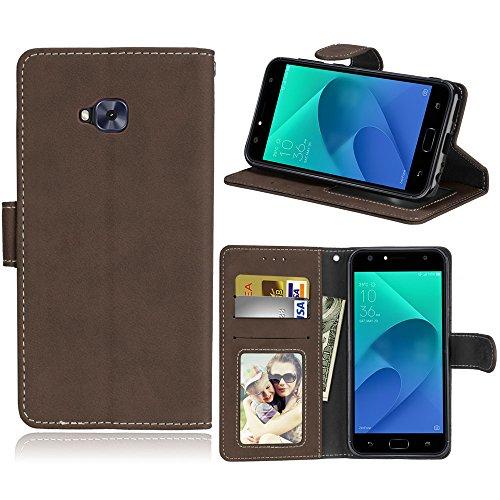 Funda ASUS Zenfone 4 Selfie ZD553KL Case,Bookstyle 3 Card Slot PU Cuero Cartera para TPU Silicone Case Cover(Castaño)