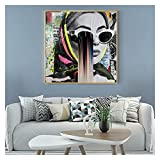 CBYLDDD Niña Fresca con Gafas Pintura Arte en la Pared Graffiti Posters y Estampados Modern Wall Art - Decoración de la Sala de Estar 20x20 Sin Marco