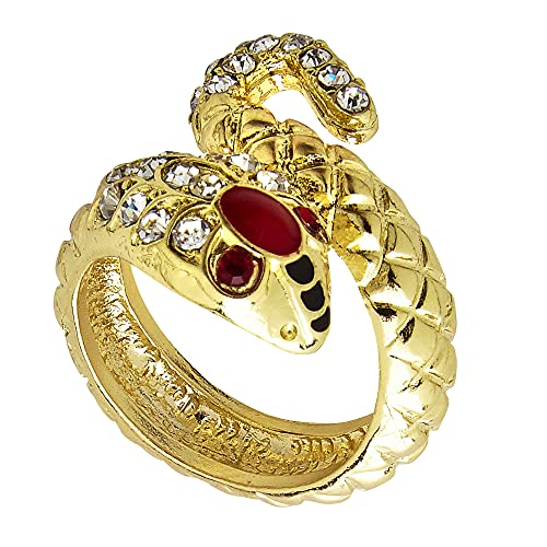 WIDMANN 03572?Anillo forma de serpiente de oro con piedras, accesorio disfraz, adulto