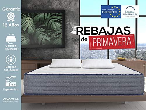 Lisabed Flex – Pack Colchón_2 Almohadas - 160x200 - Olinda- Flex, Viscoelástico de Alta Densidad, Núcleo Fresh Natur, Gama Prestige Hotel, 22cm