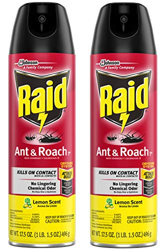 Raid Ant & Roach Killer Lemon Scent, 17.5 OZ (2)