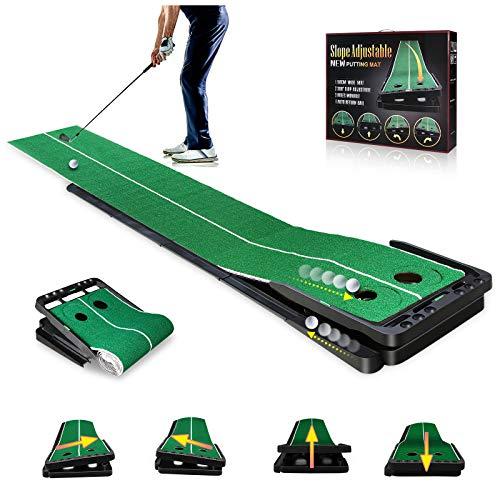 Golf Puttingmatte 0.5 * 3M, Golf Auto Return Übungsmatte, Innen/Außen Professionelles Zweibahnig Golf Putting Green Matte, Tragbarer Golf-Putting-Trainer mit Rotierendem Loch und Einstellbarer Neigung