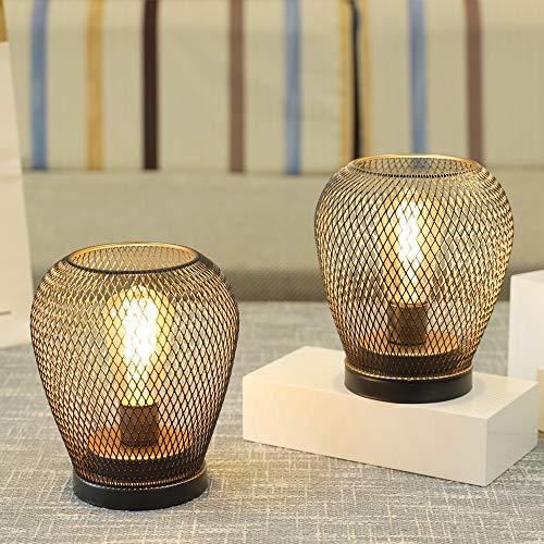 JHY DESIGN Conjunto de 2 faroles metálicos con jaula LED, batería, luz decorativa inalámbrica con bombilla LED estilo Edison. Ideal para bodas, eventos en el patio Forma (Forma de diamante)