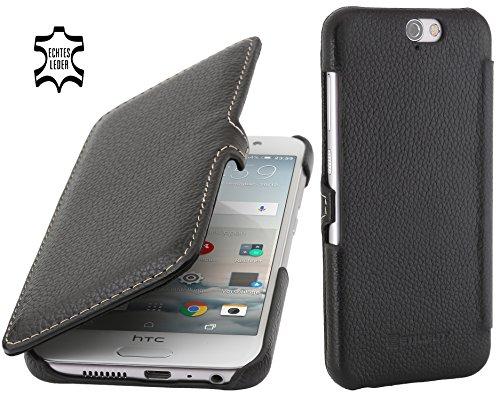 StilGut Book Type Hülle, Hülle Leder-Tasche kompatibel mit HTC One A9, Schwarz mit Clip