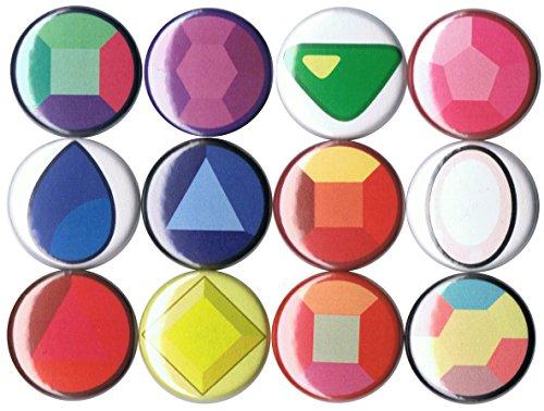 Set of 12 Steven Universe Gemstones 1' pins/buttons/badges
