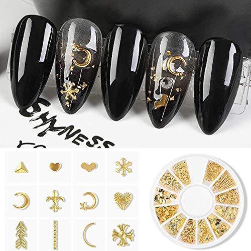 Sethexy 2Boxen Gold-Silber Nagel Bolzen Metall Gemischte Formen Blume Sterne Halbmond Edelsteine Nägel Kunstjuwelen für Mädchen Fingernägel & Zehennägel Dekorationen Tipps Maniküre(B)