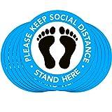 25 pegatinas para suelo de distancia social de 11.81 cm de distancia para el suelo, para p...