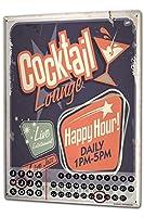 カレンダー Perpetual Calendar Retro Happy hour Tin Metal Magnetic