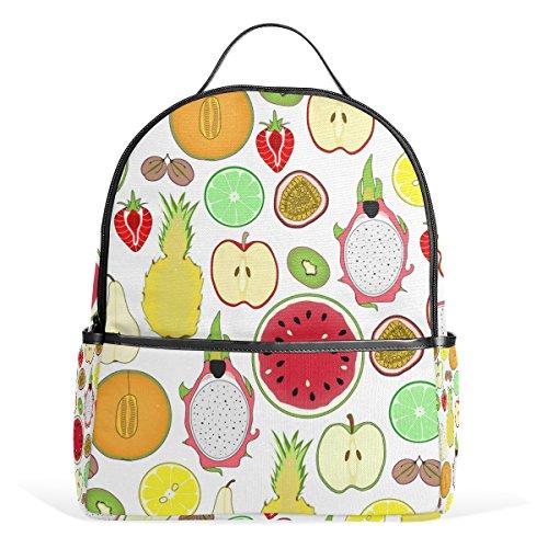 TIZORAX - Zaino per computer portatile, motivo: frutti tropicali, stile casual, per studenti, borsa a mano, leggero