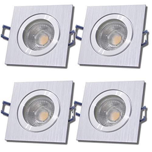 LED Bad Einbauleuchten 12V inkl. 4 x 5W LED LM Farbe BiColor IP44 LED Einbaustrahler Neptun Eckig 4000K Deckenspots