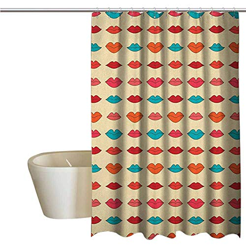 Kiss Cool Shower Curtain Rustic Pattern with Different Female Lip Shapes in Cartoon Style Colorful Romantic Girlish Bathroom Decor Durable W70 x L72 Inch Multicolor