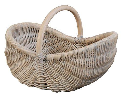 Einkaufskorb/Bügelkorb/Shopper aus echtem Rattan, Henkel- Trage-Korb leicht und stabil
