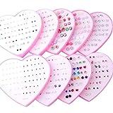 3 Multicolor Cryatal 36 Pairs Cartoon Hypoallergenic Plastic Stud Earrings Set For Women Girl Wedding Christmas Gifts Jewelry