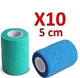 Kohäsive Bandage gedehnt 5 cm x 4,5 m selbsthaftende flexible Bandagen Profi-Qualität 10 Stück