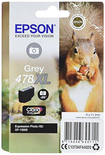 Epson Singlepack Grey 478XL Claria Photo HD Ink – Druckerpatronen (Grau, Epson, Expression Photo HD XP-15000, C13T04F64020, Tintenstrahldrucker, Grau)