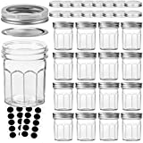 VERONES Mason Jars Canning Jars, 6 OZ Pudding Jelly Jars With Regular Lids and Bands, Ideal for Jam, Honey, Wedding Favors, Shower Favors, Baby Foods, DIY Magnetic Spice Jars, 16 PACK,Extra 16 Lids