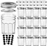 VERONES Mason Jars Canning Jars, 6 OZ Pudding Jelly Jars With Regular Lids and Bands, Ideal for Jam, Honey, Wedding Favors, Shower Favors, Baby Foods, DIY Magnetic Spice Jars, 16 PACK,Extra 16 Lids