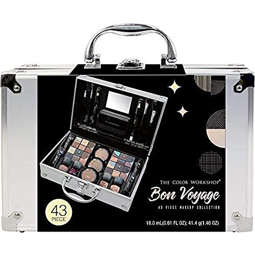 Maletín de Maquillaje Bon Voyage Makeup Set - The Color Workshop - Un Kit de Maquillaje Profesional Completo en un Maletín Plateado y Elegante con Espejo Incluido para Llevar Siempre Contigo - Silver