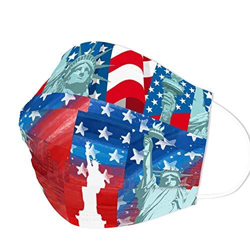 Edaren 30pcs Face Mask Design Fashionable Special Decorative 3-Ply Mouth Cover Adult for Women Men American Flag