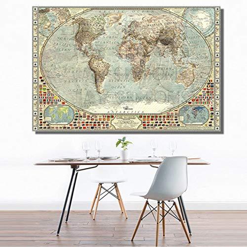 SDFSD Vintage HD Mapa del Mundo Bandera Nacional Tierra Océano Continente Arte de la Pared Pintura Impresión de la Lona Mapa Antiguo Imagen para la Sala de Estar Decoración del hogar 40 * 60 cm