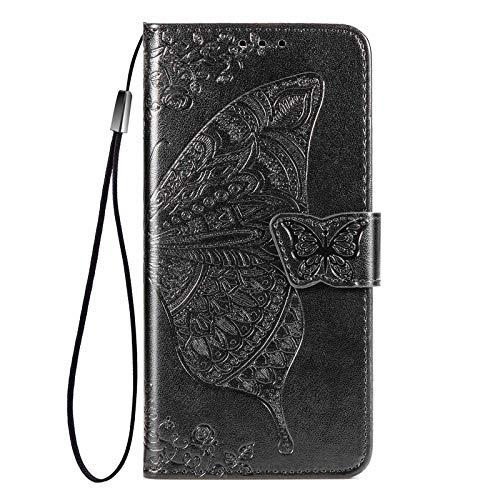 GOGME Hülle für Nokia 2.4 Hülle, Schmetterling Geprägtem PU Leder Magnetische Filp Handyhülle mit Kartensteckplätzen/Standfunktion, Anti-Rutsch Schutzhülle. Schwarz