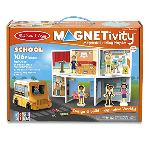 Melissa & Doug Magnetivity Magnetic Tiles Building Playset - School with School Bus Vehicle (106 Pieces, STEM Toy)