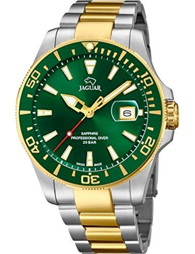 JAGUAR Reloj Modelo J863/B de la colección Executive, Caja de 43,5 mm Verde con Correa de Acero Bicolor para Caballero