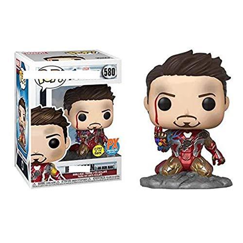YISUDA Funko Pop Iron Man Tony 580# Periférico de Cine y televisión Adornos de Juguete Hechos a Mano Modelo de muñeca Postura de Rodillas Daño de Guerra