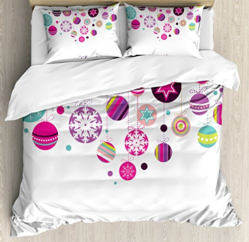 Ambesonne Christmas Duvet Cover Set, Colorful Graphic Baubles with Retro Snowflake Ornaments Celebration Hand Writing, Decorative 3 Piece Bedding Set with 2 Pillow Shams, Queen Size, Pastel Pink