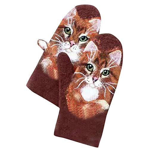 Ceally Winter Warme Handschuhe Damen Gepolsterte Kaschmir Plüschhandschuhe Fäustlinge Tier Matching Color Handschuhe Outdoor Leite Damen Dicke Handschuhe