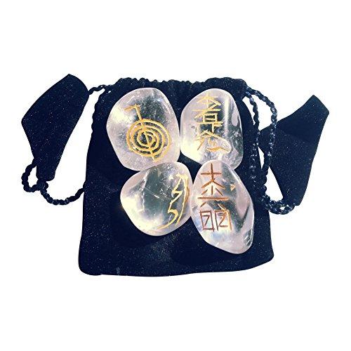 Markenlos 4 pierres polies en cristal de roche avec symboles Usui Reiki