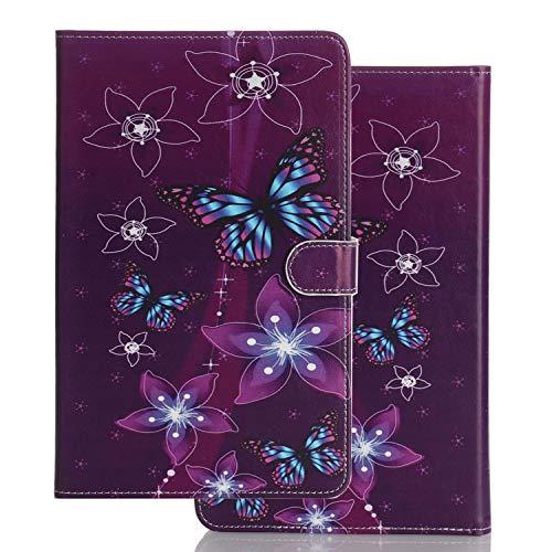 Funda para Universal 10 Pulgadas 10.1 9.6 9.7 10.2 10.5 Carcasa de Cuero Silicona Tablet PC Smart Cover Case con Tapa Piel Tarjetero - Mariposa Morada
